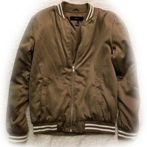 F21 Olive Forest Green Bomber Jacket